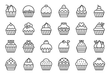 set of cupcake in various style, outline icon