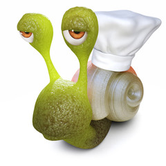 3d Funny cartoon snail character wearing a chefs hat on its shell