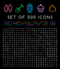 500 Universal Thin Line White Icons . Isolated Vector Elements on Black Background