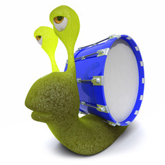 3d Funny cartoon snail character wearing a bass drum instead of a shell