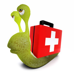 3d Funny cartoon snail character carrying a first aid kit instead of a snail shell