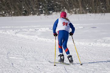 Professional Nordic skier during the race, Original sports photo, Winter game, sprint.