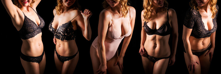 Women wearing different sets of lingerie