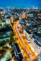 Asia business concept for real estate and corporate construction - modern city skyline aerial night view of bunkyo, tokyo, Japan