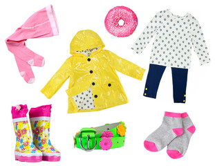 b67b2053d2 Little girl colorful fashion as clothes collage for Spring and ...