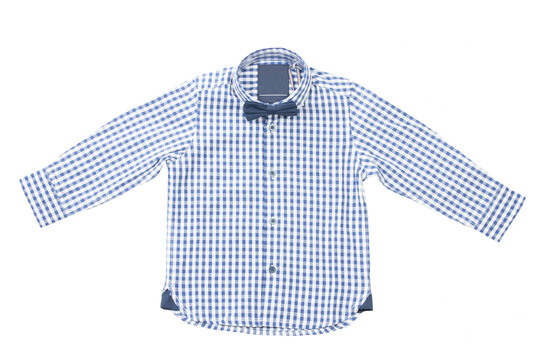 Blue white checkered kids shirt with bow tie