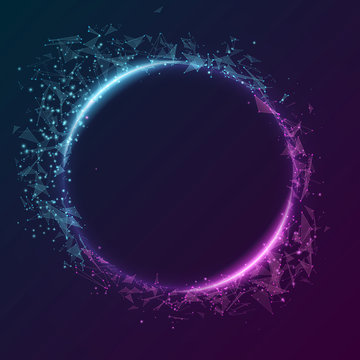 Geometric plexus banner of flying geometric particles on a dark background. Purple and blue glowing connected triangular elements. Scientific background for your design. Vector illustration