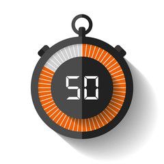 Stopwatch icon in flat style, timer on white background. Sport clock. Vector design element for you business project