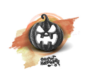 Happy Halloween pumpkin isolated white background, Hand Drawn Sketch Vector illustration.