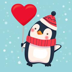 penguin holding heart