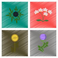 assembly flat shading style illustration plant flower paeonia chrysanthemum orhidaceae rosa