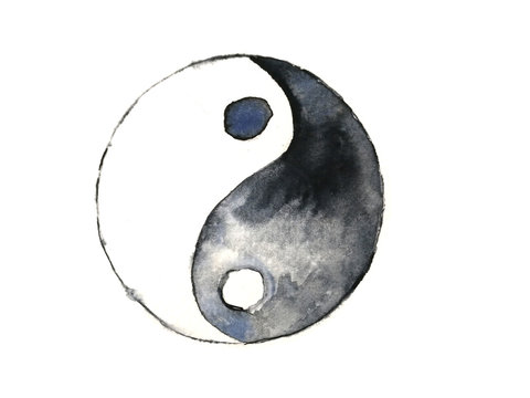watercolor yin yang symbol isolated on white background.hand drawn.