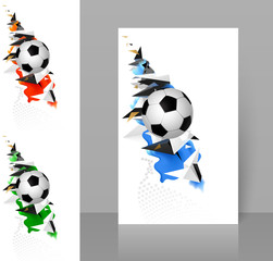 Set of three banners with white and black soccer football with geometric abstract sport design elements. Modern polygonal triangles and colored shapes for creative banner template.