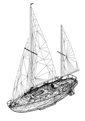 Sailing boat 3D Blueprint - isolated