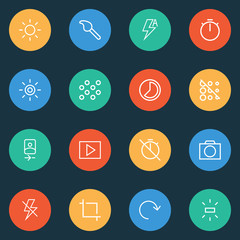 Image icons line style set with center focus, accelerated, blur off and other rotate