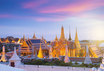 Wall Mural - Bangkok famous iconic landmark. This Wat Phra Keaw while sunset in Bangkok, Thailand