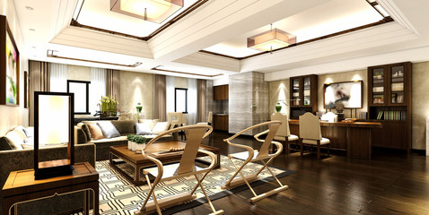 3d render of house interior view