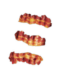 Three strips of fried crispy bacon isolated on white