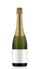 Champagne bottle on white background