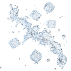 Water splash with ice cubes and water droplets isolated. Clipping path included. 3D illustration