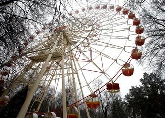 A Ferris wheel is seen at Gorky park in Minsk