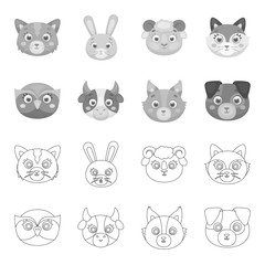 Owl, cow, wolf, dog. Animal muzzle set collection icons in outline,monochrome style vector symbol stock illustration web.