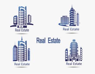 Set of vector icons Real Estate.Vector icons of architecture, urban and suburban homes