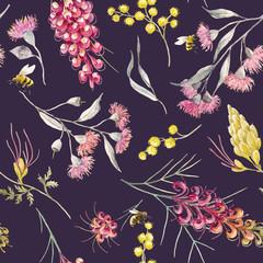 Watercolor australian grevillea vector pattern