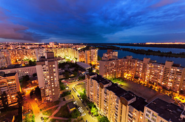 Housing estate at night. Obolon district. Kiev, Ukraine. Kyiv, Ukraine