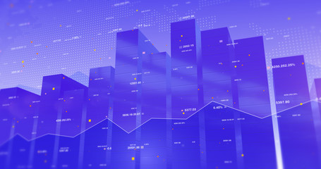Stock Market Data 3D Background With Line And Bar Charts. Business and Economy Related Concept.