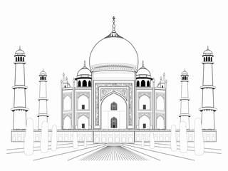 illustration of an taj mahal , vector draw