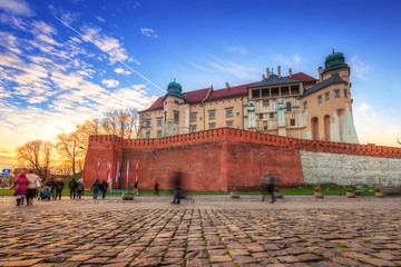 The Royal Wawel Castle in Krakow at sunset, Poland