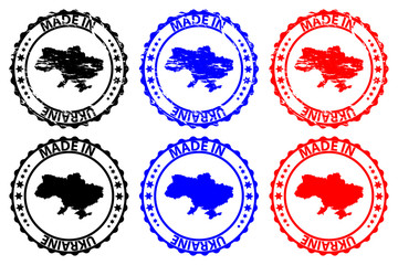 Made in Ukraine - rubber stamp - vector, Ukraine map pattern - black, blue and red