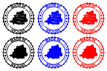 Made in Vatican - rubber stamp - vector, Holy See map pattern - black, blue and red