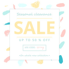 Trendy Sale Banner Design with different hand drawn organic shapes and textures. Social Media Cute backdrop for advertising, web design, posters, invitations, greeting cards, birthday, anniversary
