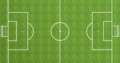 Football field top view with soccer ball in the center 3D Rendering