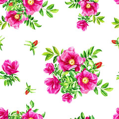 Watercolour repeating pattern of flowers of wild rose.