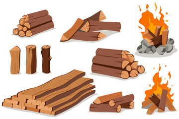 Fire wood and campfire. Log and bonfire vector cartoon flat set isolated on white background.