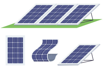 Solar panels set. Sun energy battery of various shapes vector flat icons isolated on white background.