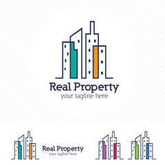 Clean modern real estate and property logo. Hotel and apartment symbol vector.
