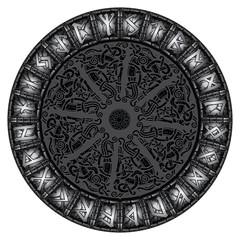 Circle of stone shining Scandinavian runes