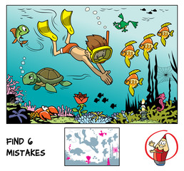 A boy with mask and flippers diving underwater in the ocean with marine inhabitants. Find 6 mistakes in the picture. Educational game for children. Cartoon vector illustration