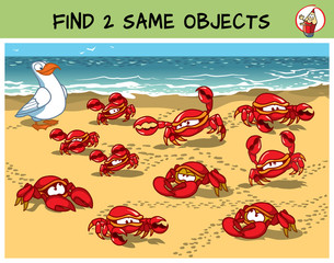 Find two the same crabs in the picture. Educational matching game for children. Cartoon vector illustration