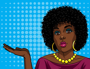 Colorful vector poster of a African American woman in comic art style over halftone dot background. Fashionable girl holding her hand and trying to show something