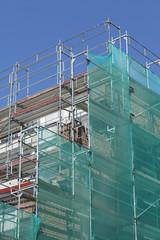 Baustelle, Gerüst, Wohngebäude, Grüne Abdeckplane