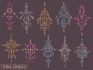 Tribal elements doodle sketch ethnic symbols tattoo set 2