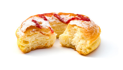 side view donut with some bites on a white background