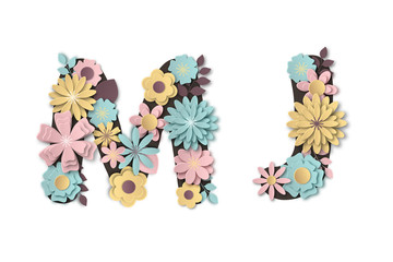 Paper art flower alphabet. Beautiful romantic gentle letters in pastel colors.