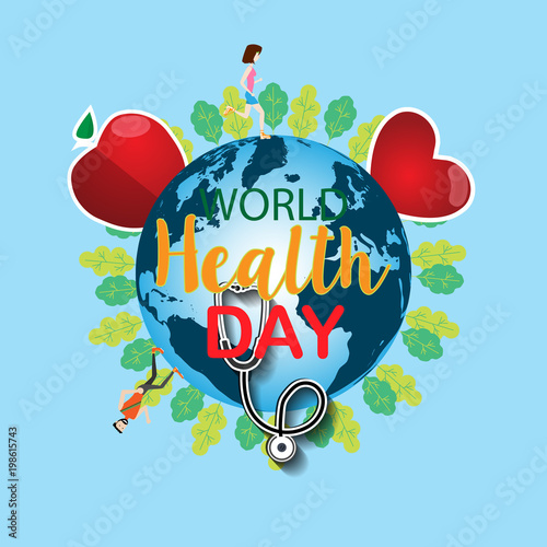5f444d16e983 World health day concept with hand draw lettering and healthy ...