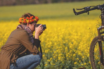 Amateur photographer tourist taking photo in the countryside